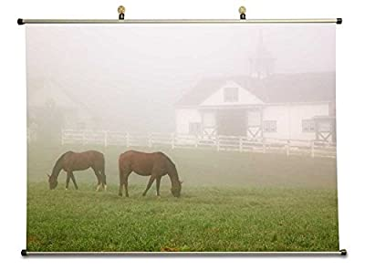 Manchester Horse Farm Lexington Kentucky - Canvas Wall Scroll Poster (28x20 inches)