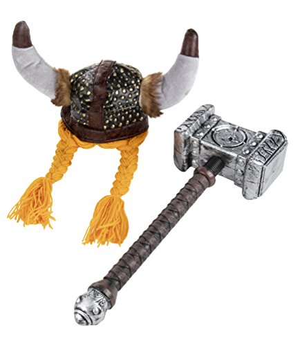 Viking Helmet and Hammer - 2-Pack Adult Party Hat Costume Accessories for Halloween, Themed Birthday Parties, Helmet: 22.7 Inches Circumference, Hammer: 20.7 x 7.7 x 4 Inches -