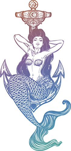 Sexy Vintage Pin Up Mermaid Cartoon - Pastel Ombre Vinyl Decal Sticker (8