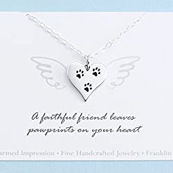 Pet Memorial Necklace • Sterling Silver • Heart Paw Print Charm • Dog Cat Loss • Personalized Sympathy Gift