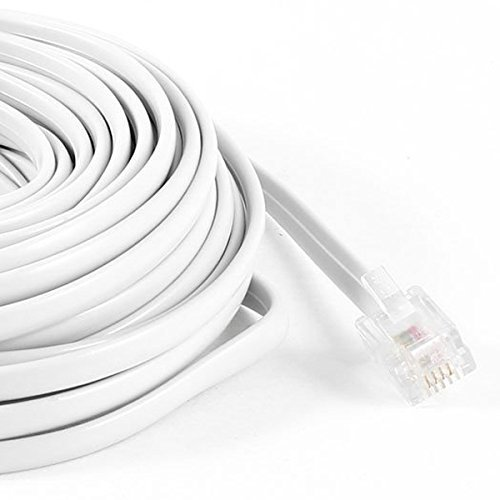 RilexAwhile White Male RJ11 to male RJ11 6P4C Modular Telephone Extenstion Lead Cable Cord 9M 30ft