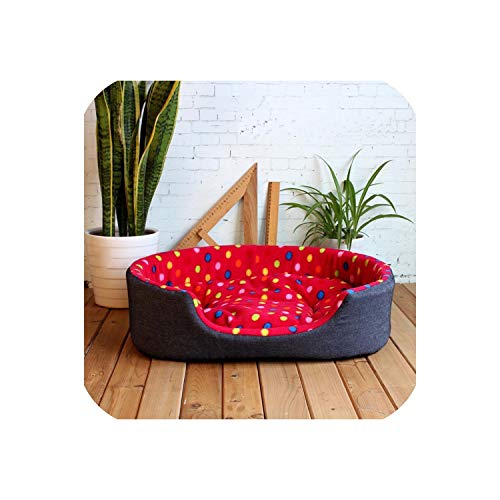 Pet Kennel House Warm Large Dog Bed Cat Cushion Sofa for Dogs Sofa,Red,60cmX45cmX17cm