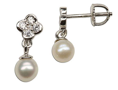 Pearl Daisy Earrings - Girl's Sterling Silver Daisy Earring with Drop Cultured Pearl and Screw Backs