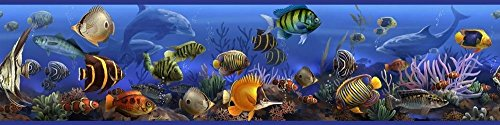 Fish Wall Border - CHSGJY New Tropical Fish Wall Paper Border Ocean Blue Bathroom Wall Sticker Decor