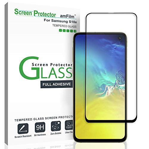 Amfilm Glass Screen Protector For Galaxy S10e Tempered Glass Full Screen Adhesive With Easy Installation Tray Black