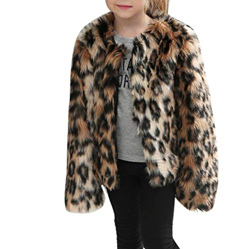 (Moonker Girls Coat 3-8 Years Old,Toddler Girls Kids Autumn Winter Warm Clothes Faux Fur Leopard Thick Jacket Outwear (6-7 Years Old, Brown))
