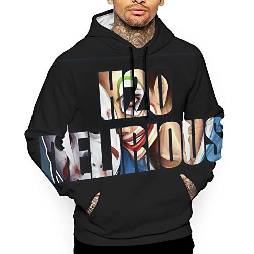 H20-Delirious 3D Printed Mens Teen Long Sleeve Hoody Running Fleece Sweatshirts With Pocket Hat S