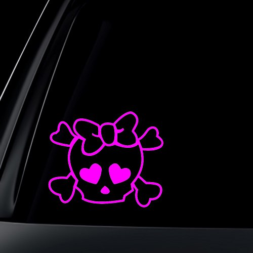 Skull and Cross Bones with Heart Eyes decal sticker - Pink 6