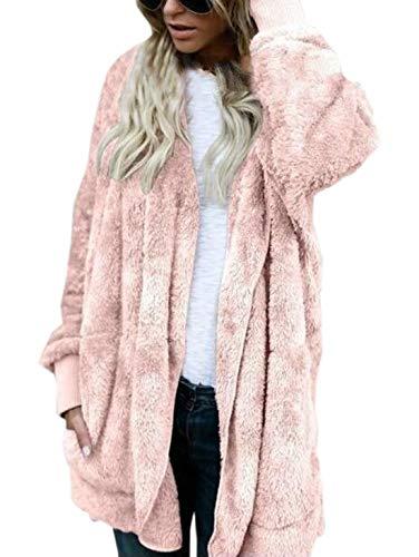 Coat Autunno Donne Manica Termica Giacca Cime Tops Lunga Outerwear Media Cardigan Parka A Rosa Cappuccio Lanugine Inverno Con Moda Cappotti Lunghezza E Casual Y7yg6fb