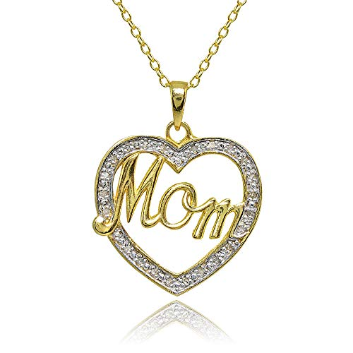 (Yellow Gold Flashed Sterling Silver Polished Open Heart Mom Diamond Accent Pendant Necklace, JK-I3)