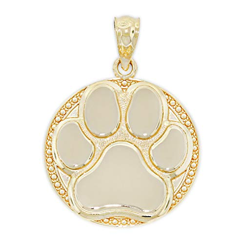Charm America - Gold Dog Paw Charm - 14 Karat Solid Gold - Yellow Gold Dog Charm