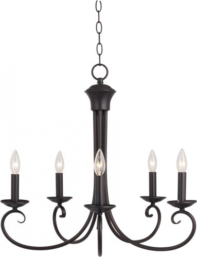 Maxim Lighting 70005OI, Loft Candle 1 Tier Chandelier Lighting, 5 Light, 300 Watts, Oil Rubbed Bronze