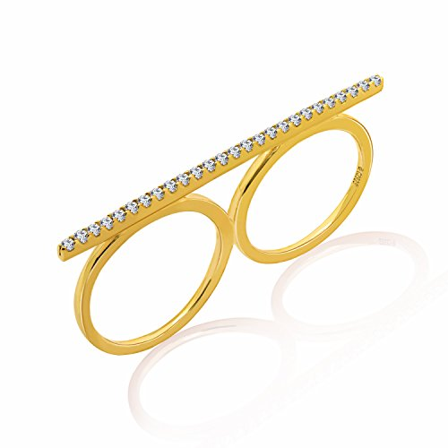 Diamonbliss Sterling or 14K Gold Clad Cubic Zirconia Double Finger Ring, Sterling or 14K Clad - 14K Yellow Clad,Size 7