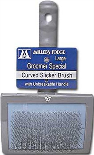 Millers Forge Dog Grooming - Millers Forge Stainless Steel Pins Universal Curved Pet Slicker Brush Plastic Handle, Large