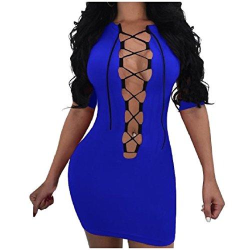Cava Discoteca Metà Abiti Sexy donne Manica 1 Cinghie Zaffiro Blu Coolred Colorati Solidi 2 Magre q7x8wUa4