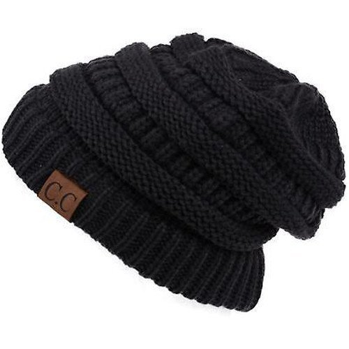 C.C Thick Slouchy Knit Unisex Beanie Cap Hat,One Size,Black