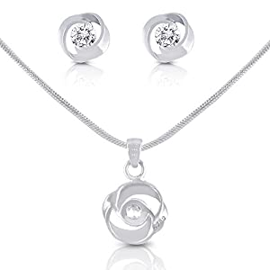 Smitco LLC Silver Plated Necklace and Stud Earrings Jewelry Set for Girls, Teen Girls, Mom or Women