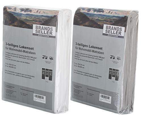 418zlewS4zL Brandsseller - 3-teiligs Spannbettlaken Set für Wohnwagen und Wohnmobil Heckbett Spannbetttuch 180 g/m² 2X 70x190 cm…