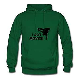 Designed Green Women Vogue X-large Unique I Got Moves! Cotton Sweatshirts