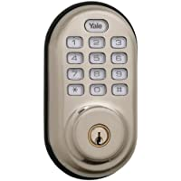 Yale Real Living Electronic Push Button Deadbolt Fully Motorized with Zwave Technology (Satin Nickel)