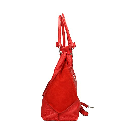 Leather Cm Red Italy 36x28x17 Bag In Borse Chicca In Genuine Woman Made I8wxH1nvPq