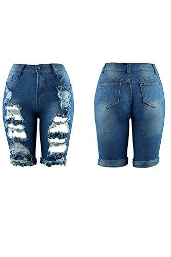 Longueur Dchir Femmes Pantalons Trous Occasionnel Jeans Pantalons Blue En Des Les Genou wHp7OSqq