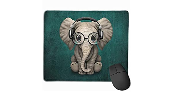 12 X 10 Inch DAVIDLLOYD Mouse Pad Cute Baby Elephant Dj Wearing Headphones and Glasses On Blue Durable /& Comfortable /& Lightweight Non-Slip Rubber Gaming Mouse Pad for Computers Laptop