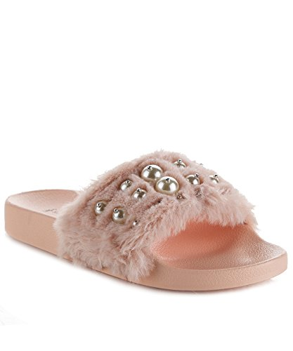 Pink Jeweled Sandal (RF ROOM OF FASHION Women's Fashion Faux Fur Pearl Accent Single Band Slides - Slip On Flat Sandals - Soft Footbed Slippers Pink (6))