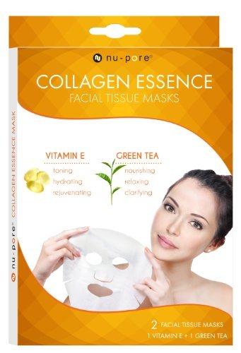 Nu-pore Collagen Essence Mask 2ct (Vitamin E and Green Tea), Bulk Case of 24
