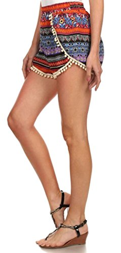 034 Las Gimnasio Trim Mujeres Alto Cortos Pantalones Talle Estampado Simplicidad Multicolor Borla Pompón Playa Casual De Mini wdaFxBq