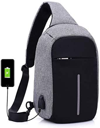 Anti-Theft Crossbody Bags with USB Charging Port -gray