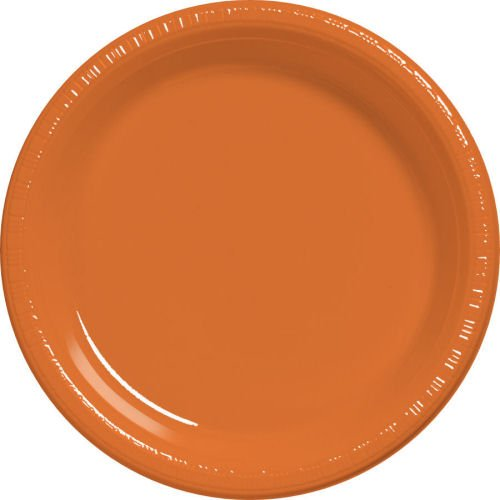 Amscan Reusable Round Party Dessert Plates Tableware Plastic, 9'', Pack of 20 Costume for Kids , Orange Peel, 200 Pieces by Amscan