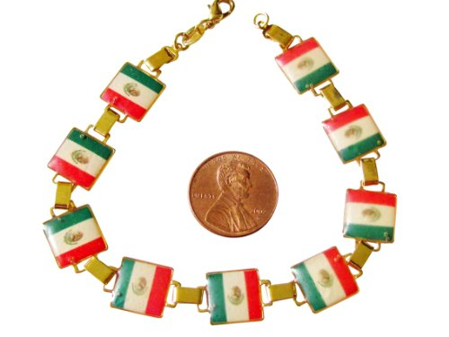- 14k Gold Overlay Square Bar Link Bracelet with the Mexican Flag