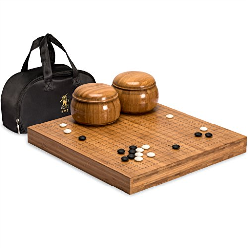 Go Game Set with Bamboo Go Board (2 Inches Thick), Double Convex Yunzi Stones and Bamboo (Neu Castle)