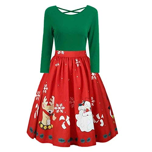 Seaintheson Christmas Womens Dress Plus Size Print Criss Cross Party Dress Fashion Long Sleeve Round Collar Skirt -