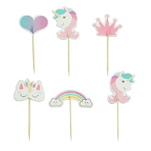 - Unicorn Cupcake Toppers Rainbow Heart Crown Cake Toppers Themed Party Decorative 24pcs Pink by SHXSTORE
