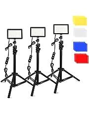 3 Packs 70 LED Video Licht met Verstelbare Statief Stand/Kleur Filters, Obeamiu 5600K USB Studio Verlichting Kit voor Tablet/Lage Hoek Schieten, Collectie Portret YouTube Fotografie