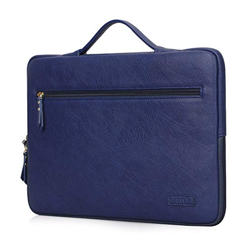 "FYY Laptop Bag for 12""-13.5"" [Waterproof Leather] Sleeve Case for Surface Book MacBook Pro/Air 13"", Briefcase Bag fits 12""-13.5"" Lenovo Dell Toshiba HP ASUS Acer Chromebook Notebook Ultrabook-Navy -  FYY-US-1828-BAG-13.5-NV"