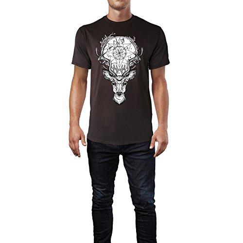 SINUS ART ® Hirschkopf mit Traumfänger Herren T-Shirts in Schokolade braun Fun Shirt mit tollen Aufdruck
