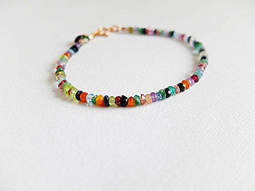 JP_Beads Clearance Jewels! Iolite,Pink Tourmaline Peridot,Apatite,Labradorite Multicolor Bracelet Stacking Bracelet,Boho Colorful Bracelet, Gemstone 1-2mm