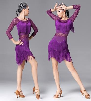 Amazon.com : Ladies Dress New Long Sleeve Latin Dance Tassel Dress : Sports & Outdoors