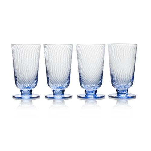 Mikasa Beverage Glass - Mikasa 5228378 Avalon Iced Beverage Glass Set of 4, 15-Ounce Blue