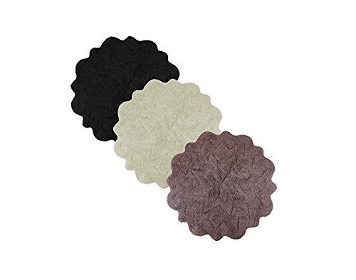Sherry Kline Over Tufted Petals Bath Rug (Set of 2) (Black) - Round Tufted Cotton Rug