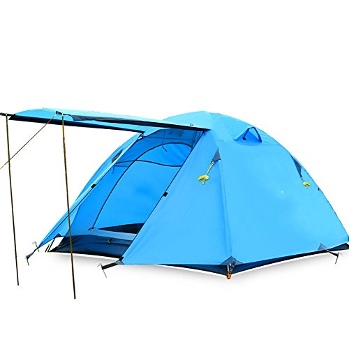 無礼にモールス信号ライオンQFFL zhangpeng テントアルミロッドフィールドダブルレインテント3-4キャンプとキャンプ機器ダブルセットテント4色オプション トンネルテント ( 色 : A )