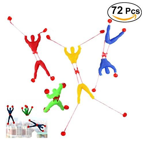 NUOLUX 72 Pcs Kids Children Stretchy Sticky Toy Set Including 24 Sticky Hands 24 Wall Climber Men 24 Sticky Hammers by NUOLUX