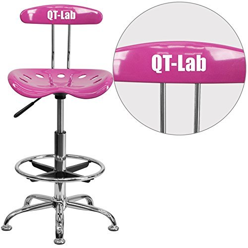 Flash Furniture Personalized Vibrant Candy Heart and Chrome Drafting Stool with Tractor Seat