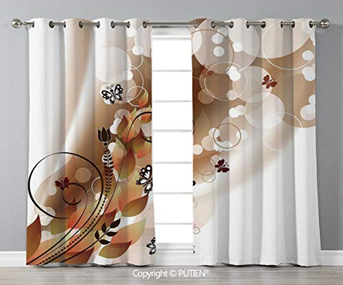 (Grommet Blackout Window Curtains Drapes [ Tan,Spring Themed Abstraction Cute Flower Petals and Tulip Leaves,Dark Brown Brown White ] for Living Room Bedroom Dorm Room Classroom Kitchen CAF)