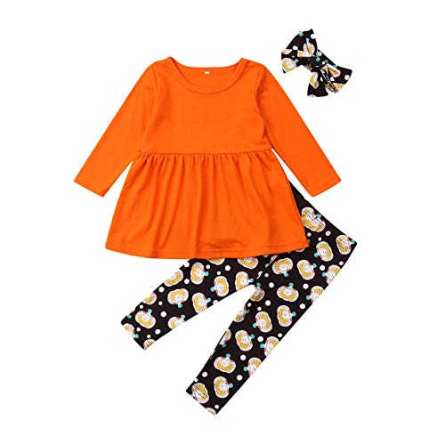 GuliriFei 3PCS Baby Girls Outfits T-Shirt+Pants Set Toddler Autumn Clothes Tracksuit UK (Yellow, 1-2 Years) (Halloween Costumes For 1 Year Old Boy Uk)