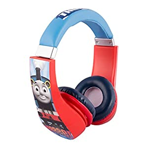 Sakar Thomas and Friends Cartoon Character Train 30385 Kid Safe Over The Ear Headphone with Volume Limiter, Clear Bass, Warm Highs and Lows, 3.5mm Stereo Jack, Blue, Red & White