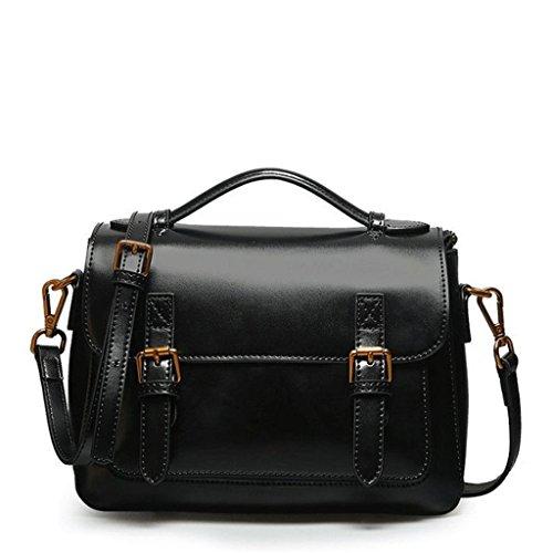 DGF Sac bandoulière Femme Messager Noir magnétique carré Visage à Messenger en Sac Sac Cuir Main Doux à Boucle Bag de xrwFqr
